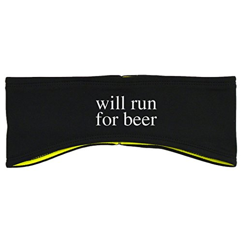 Gone For a Run Running Reversible Performance Headband Will Run For Beer - Black Yellow