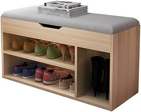 家の靴のベンチ、木製のソファベンチ、リビングルームのエントランスの靴箱、多機能収納スツール、取り外し可能、荷重150kg、80x30x45cm ++ (Color : A)