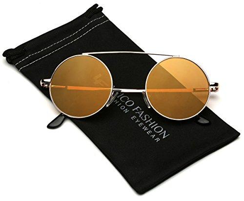 Bridgeless Circle Frame Flat Lens Fashion Sunglasses (M-L - Sunglasses M With Logo