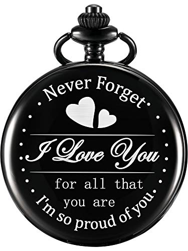 Hicarer Engraved Pocket Watch for Dad Daughter Son Husband, Gift for Birthday Christmas Holiday - Never Forget I Love You (I Am so Proud of You, Black Dial)