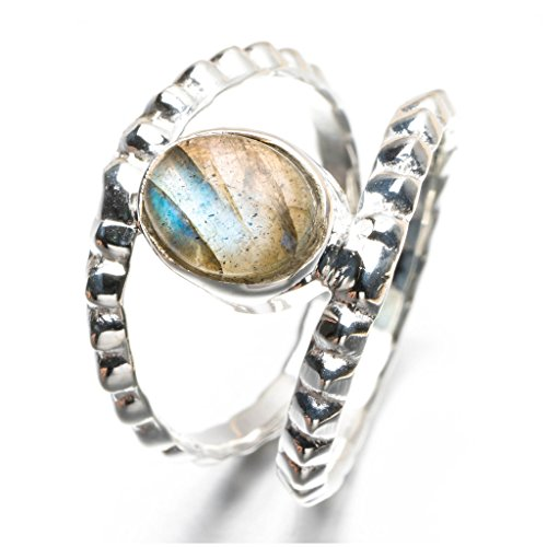 (Natural Blue Fire Labradorite 925 Sterling Silver Ring, US Size 7.75 Q2646)
