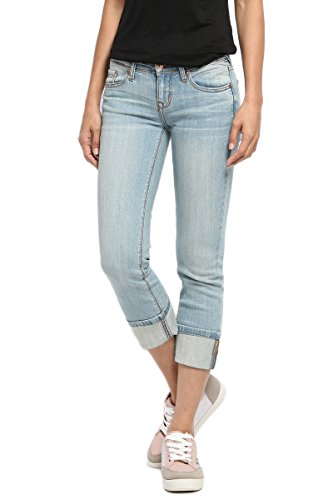TheMogan Women's Stone Washed Low Rise Denim Capris Crop Skinny Jeans Light 13
