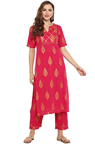 Janasya Indian Tunic Tops Cotton Kurti Set for Women (SET025-KR-SP-XL) Pink