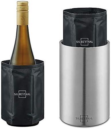 ✔ PRACTICA - Enfria botellas de vino de acero inoxidable con 2 fundas enfriabotellas de vino. Para b