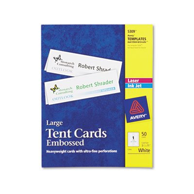 Large Embossed Tent Card, White, 3 1/2 x 11, 1 Card/Sheet, 50/Box, Total 250 EA, Sold as 1 Carton by AVERY
