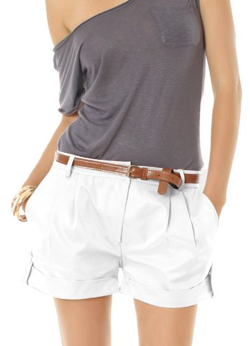 fdfb7d2908add1 Damen Shorts Chino Bundfalten Damenshorts Gr.40/L kurze Hosen Damen in  weiß: Amazon.de: Bekleidung