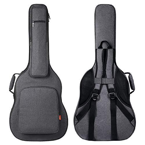 CAHAYA Guitar Bag [Reinforced Version] 0.7 Inch Overly Thick Sponge Padded Extra Protection Guitar Casewith 5 Pockets,Soft Interior,Neck Cradle,Back Hanger Loop for 40 41 in Acoustic Classical Guitar