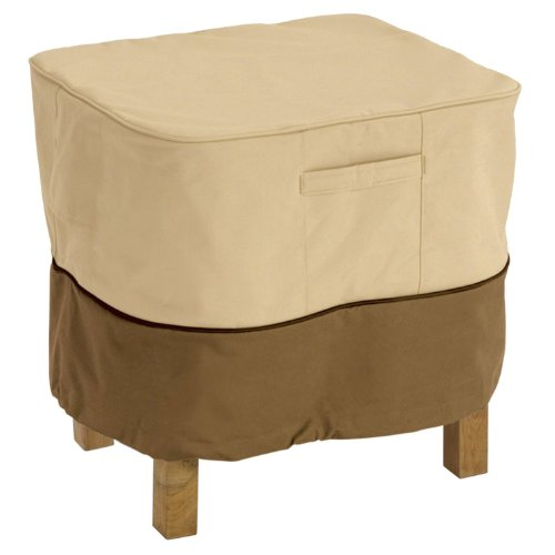 Classic Accessories Veranda Ottoman/Side Table Cover, Pebble for Square Ottomans or Side Tables