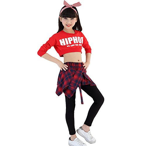 2PCS Girls Hooded Street Jazz Dance Costumes Hip Hop Outfit Kids Culottes (red, 8-10) ()