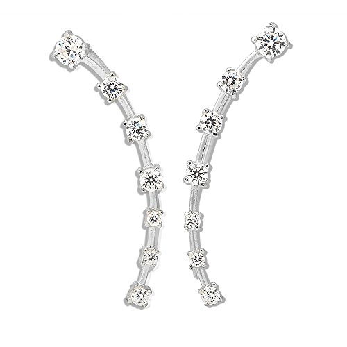 Sterling Silver CZ Curved...