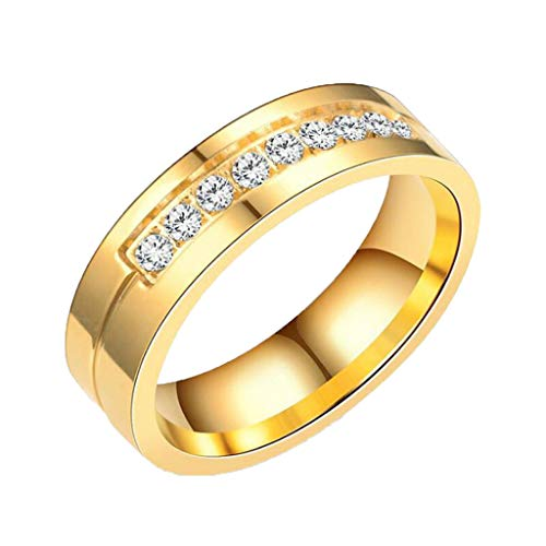 (Gleamfut Ladies New Titanium Steel Gold Ring with Diamond Ring Stylish Simple Jewelry)