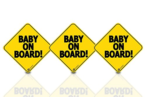 Zone Tech Baby On Board Vehicle Bumper Magnet - 3-Pack Premium Quality Convenient Reflective Baby On Board Vehicle Safety Funny Sign Bumper Magnet