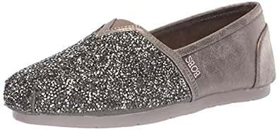 Skechers Womens 32875 Luxe Bobs - Chunky Rhinestone Slip on W Memory Foam Grey Size: 7