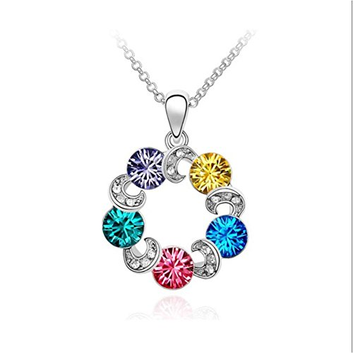 NL80034 Multi-Color Necklace for Women,Korean Version & Mysterious Clouds Crystal Necklace,Silver (Cute Homemade Ladybug Costumes)