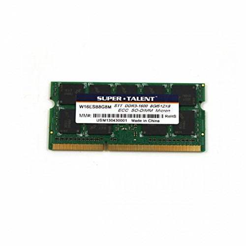 SUPER W16ESB8G8M Super Talent DDR3-1600 SODIMM 8GB/1Gx72 ECC CL11 Server Memory