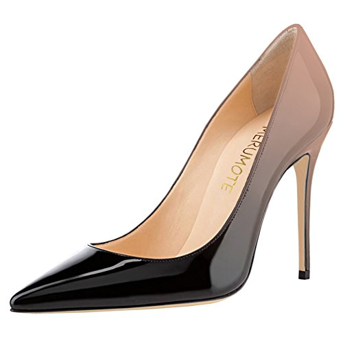 Heel with MERUMOTE Party Pointed Gradient Toe 10cm High Black to Dress Stiletto s Patent Usual Color Pumps Leather Women Nude rUqxpYr