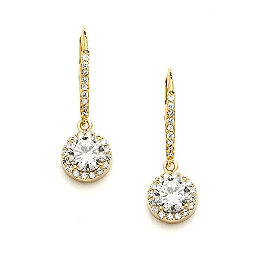 Mariell Delicate Cubic Zirconia Gold Pave Drop Bridal Earrings. Perfect for Brides or Everyday Wear!
