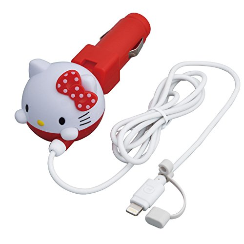 Seiwa for car mobile phone charger Hello Kitty DC Car Charger Lightning Cave Red KT470 (Hello Kitty Car Charger)