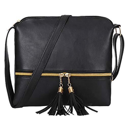 Women Leather Tassel Crossbody Bag Pure Color Shoulder Bags Messenger Bag