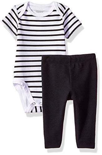 Hanes Ultimate Baby Flexy 2 Piece Set (Pant with Short Sleeve Bodysuit), Black Stripe, 18-24 Months ()