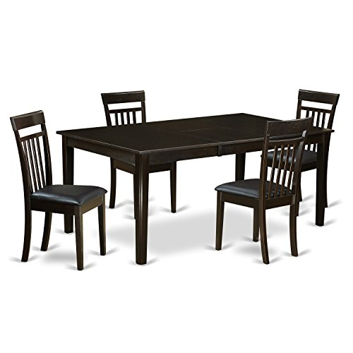 East West Furniture HECA5-CAP-LC 5 PC Dining Table Set-Table with Leaf & 4 Dinette Chairs