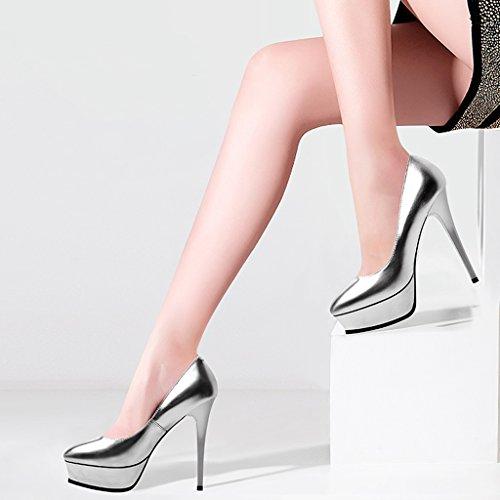 Chaussures Ronde Forme Bouche Profonde Imperméable à Bottom Silver Talons L'eau JE Hauts épaisse shoes Stiletto Plate xwv7vqIYP