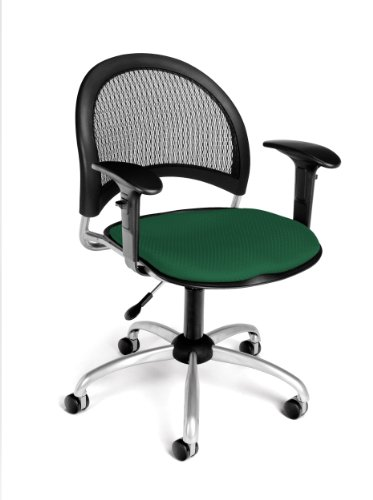 (OFM 336-AA3-2221 Moon Swivel Chair with Arms, Forest Green)
