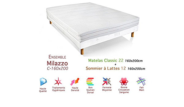 Conjunto de Milazzo colchón somier 22/12 Classic de 160 x 200 ...