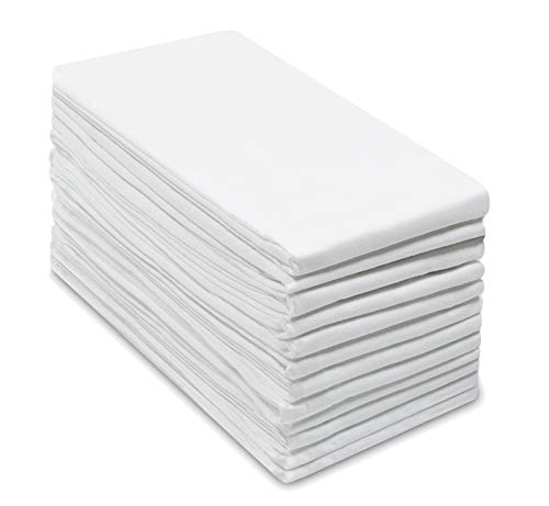 COTTON CRAFT -12 Pack Flour Sack Kitchen & Dish Towels - Also Used as Napkins - 100% Pure Ringspun Cotton - White - 28x28 Heavy Weight 900 Gram / 32 Ounce Woven Low Lint Construction - Multi Purpose