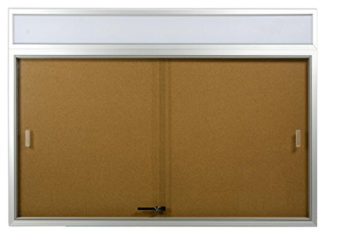 Displays2go 48 x 36 Inches Indoor Cork Board for Wall, Includes Separate Header Area, Sliding Glass Doors, 4 x 3 Inches Bulletin Board with Mounting Hardware, Silver (CBSD43HDSV) (Aluminum Indoor Bulletin Enclosed Board)