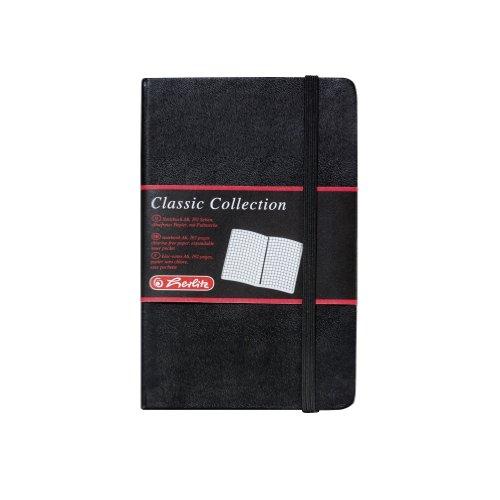 Herlitz 10789436 Geschäftsbuch, Lederoptik, schwarz, kariert, A6, 96 Blatt, Inhaltspapier 80g/m² Notizbuch Classic Collection