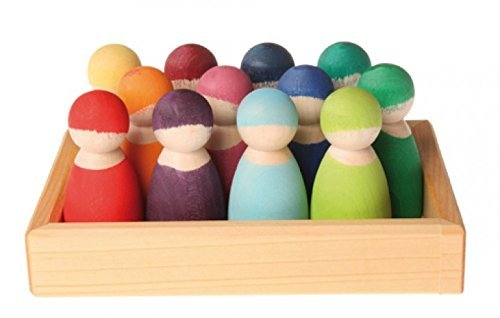Grimm's Set of 12 Rainbow Friends Peg Dolls - Wooden Pretend Play People Figures with Storage Tray (Grimm Wooden Toys)