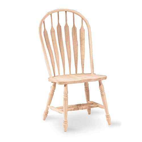 Chair Traditional Arrow - International Concepts 1C-1206 Windsor Steam Bent Arrow Back Chair, Unfinished