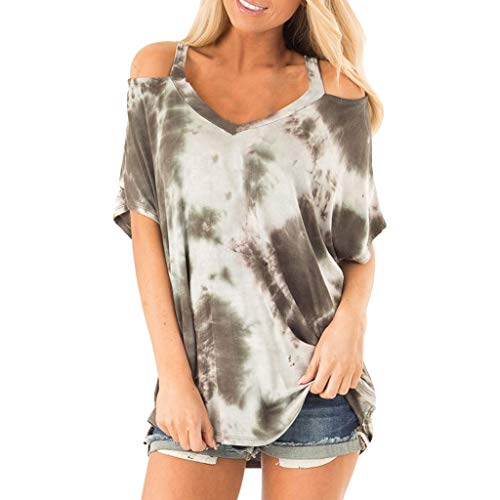 〓COOlCCI〓Women Tops Cold Shoulder Short Sleeves Round Neck Casual Fashion T Shirts &Tie Dye Blouse Casual Tunic Tops Army Green
