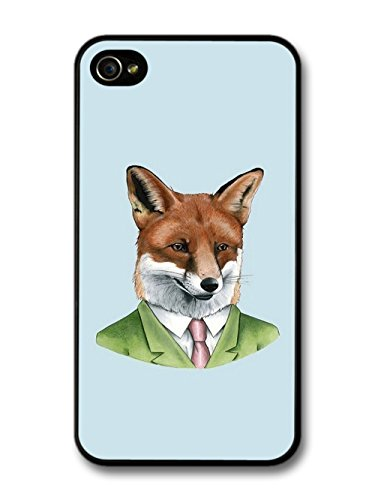 Fox in Green Suit on Blue Background, Hipster Animal Illustration coque pour iPhone 4 4S