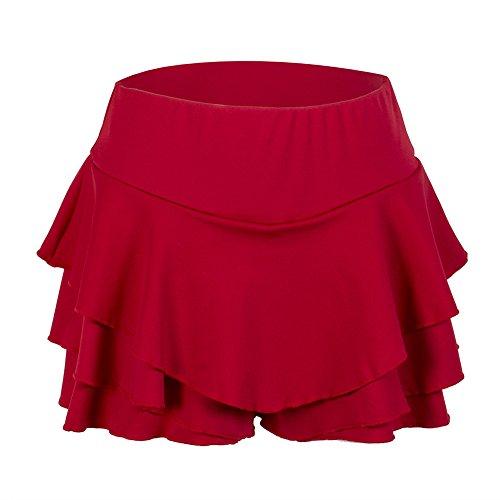 Women's High Waisted Ruffles Pleated Skirt Mini Short Skorts (Large, Red) (Red Ruffle Shorts)
