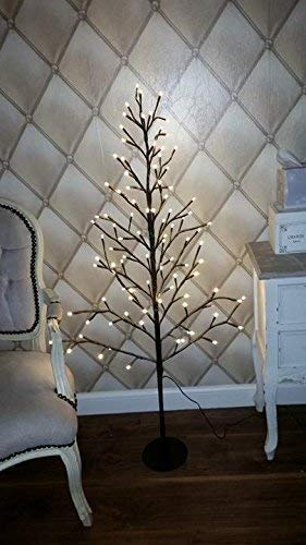 cheap for discount fae5e feded garden mile® 4FT Rustic Shabby Chic Luxury Flat Twig Christmas Tree Snow  Dusted And Pre-lit With Warm White LED Lights Xmas Rustic Christmas Tree ...