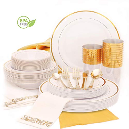 Earth's Dreams Gold Dinnerware Set for 25 Guests [301pcs] Gold Plastic Plates for Party | Disposable Wedding Gold Rim Tableware: Dinner and Dessert Plates, Bowls, Napkins, Cutlery, Cups, Table Runner (Plate Table)