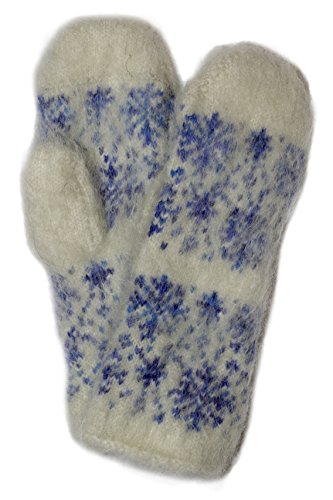 Blue Snowflake Thick Natural Mohair (Angora Goat's Down) LambswoolSoft Cute Super Warm Cozy Winter Mittens for Teens and Mums by Granny's Knitwear (Blue, Medium)