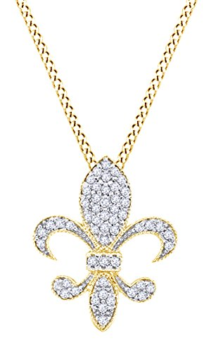 Round Cut White Natural Diamond Medium Fleur Di Lis Pendant In 14k Yellow Gold (0.33 cttw) (Fleur De Lis 14k Necklace)