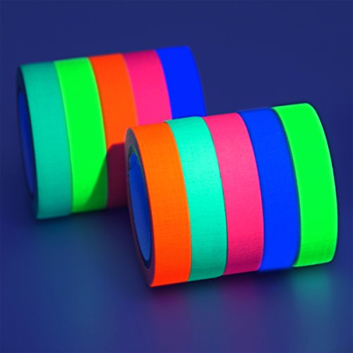 GIGALUMI 10-Pack UV Blacklight Reactive Glow in The Dark Tape, Fluorescent/Neon Gaffer Tape (.5 in x 16.5 feet) ()
