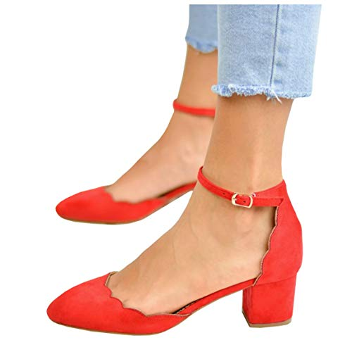 LAICIGO Women's Heeled Sandals Closed Toe Chunky Block Heel Scalloped Strap Faux Suede D'Orsay Pumps Shoes