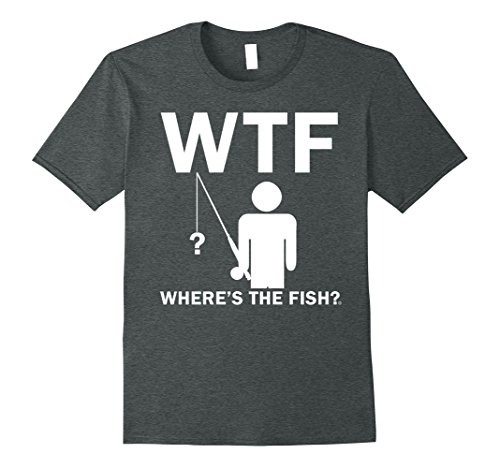 Mens Where's The Fish Funny Father's Day Birthday Gifts Fishing 3XL Dark Heather