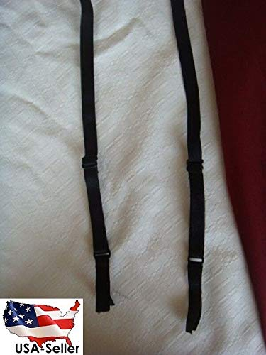 10 Pairs of Black Bra Straps Elastic Matte Shiny 3/8w #ID-243