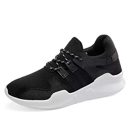 ZHZNVX Zapatos de Mujer Tulle Primavera/Otoño Suela Ligera Sneakers Flat Heel Round Toe Lace-up Blanco/Negro / Rosa Black