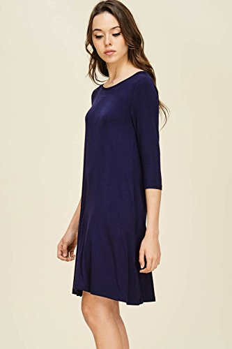 Annabelle Mini Pockets Quarter Solid with Women's Side Dress A Navy Line Sleeve Swing 44r06q