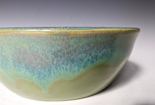 Pottery Serving Bowl ~ Dishware ~ Food Dish ~ Handmade Ceramic Stoneware ~ Green with Blue Cascade
