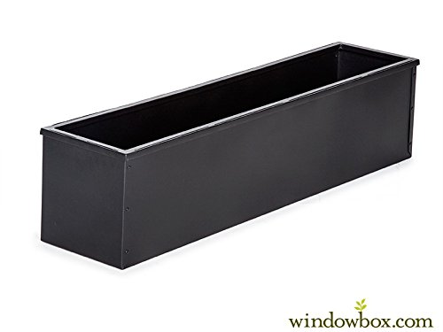 48in. Black-tone Metal Window Box Liner by Windowbox