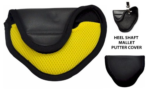 Synthetic Leather Mallet Putter Cover for Heel Shafted Putters (Left Handed, YELLOW) by JP Lann