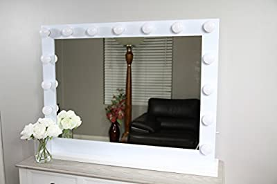 XLarge Hollywood Vanity Mirror 39 x 29 with 15 LED Lights (included), with Dimmer and 2 Plug-in Electric and USB Ports